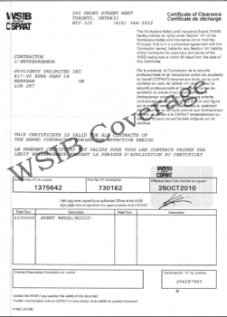WSIB Certificate of Clearance